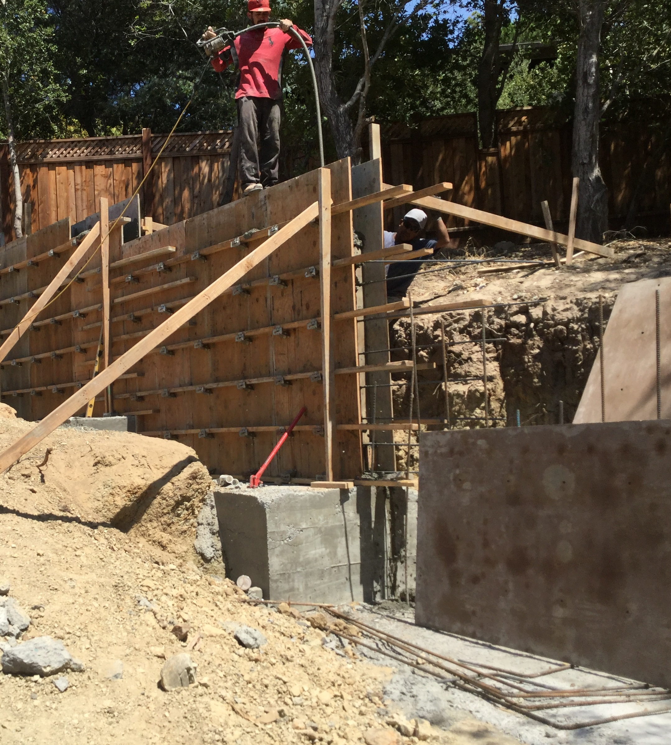how to support retaining wall indoors
